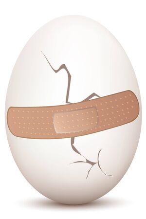 esculaap: illustration of cracked egg with bandage on white background Stock Illustratie