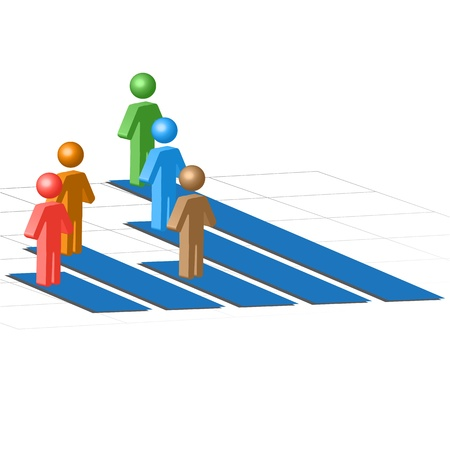 ranking: illustration of business growth chart with peoples on white background Illustration