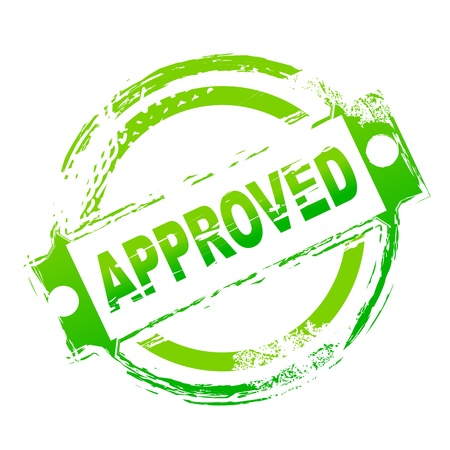 surety: illustration of approved seal on white background