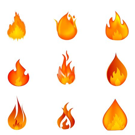 flammable warning: illustration of shapes of fire on white background