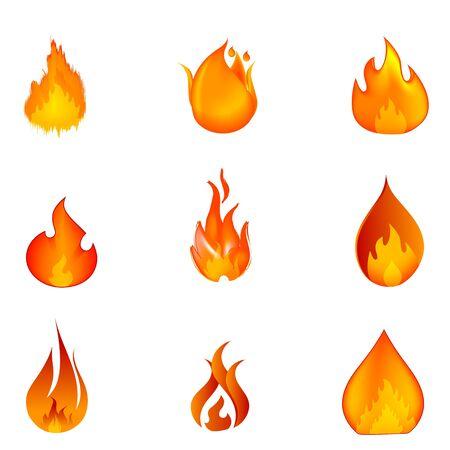 fogatas: Ilustración de las formas del fuego sobre fondo blanco