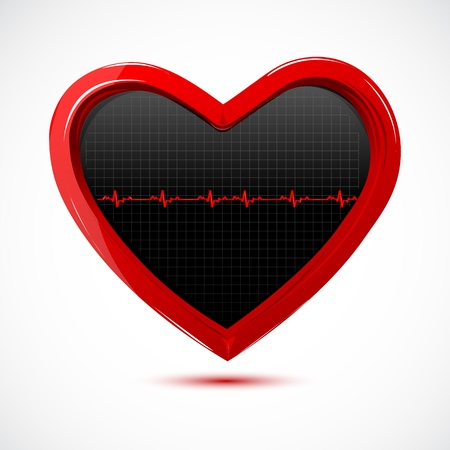 illustration of heart with cardiology on white background Stock Vector - 8373400
