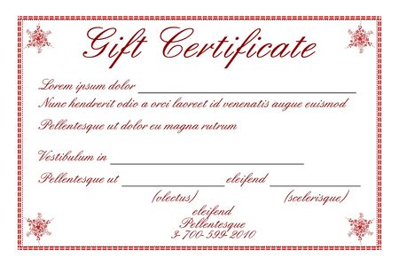 redeem: illustration of gift certificate on white background