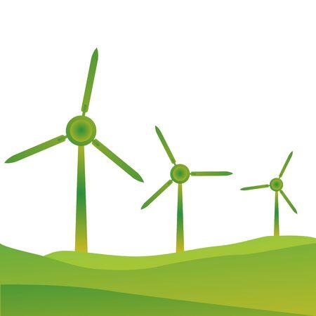 wind wheel: illustrazione di mulini a vento Vettoriali