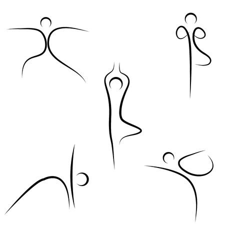 yoga meditation: illustrazione di yoga tracciate su sfondo bianco