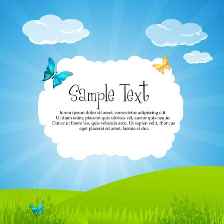 illustration of nature card with sky and butterfly Stock Vector - 8373496