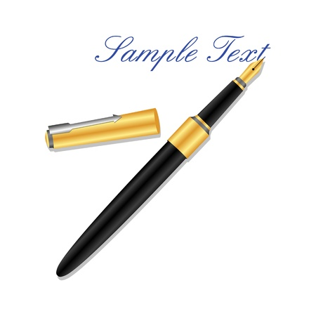 fountain: illustration of fountain pen on white background