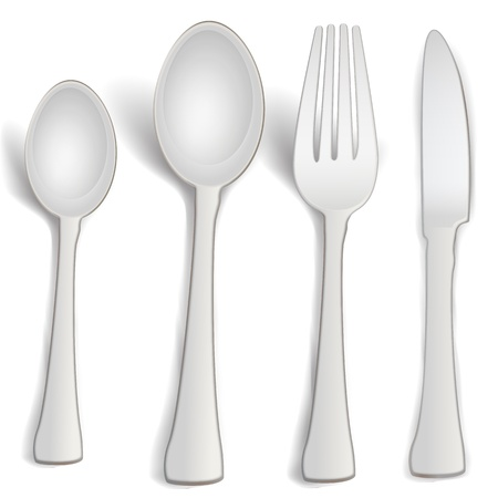 dinning table: illustration of kitchen spoons on white background