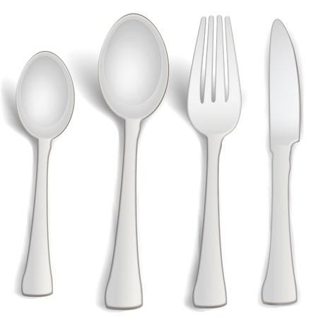 illustrazione di cucchiaini di cucina su sfondo bianco