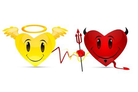 illustration of devil hearts on white background Vector