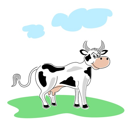 close out: illustration of happy cow