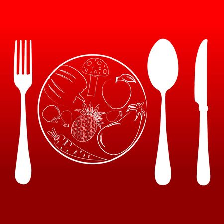illustration of cutlery set with plate Vector