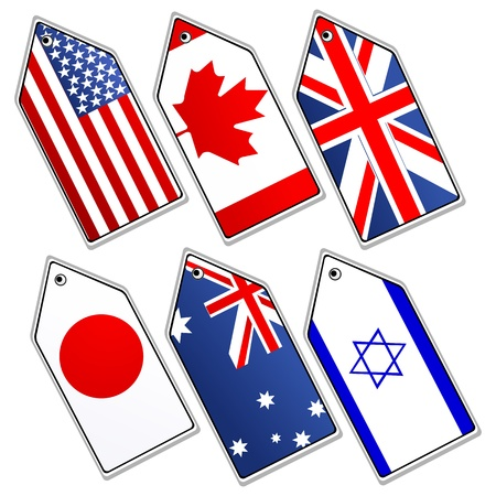 british culture: illustration of different flags on white background Illustration