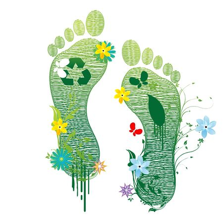 ecological: illustration of recycle feet on white background