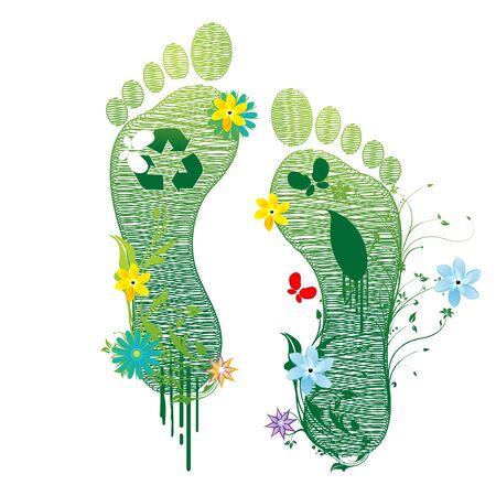 illustrazione di riciclare i piedi su sfondo bianco Vettoriali