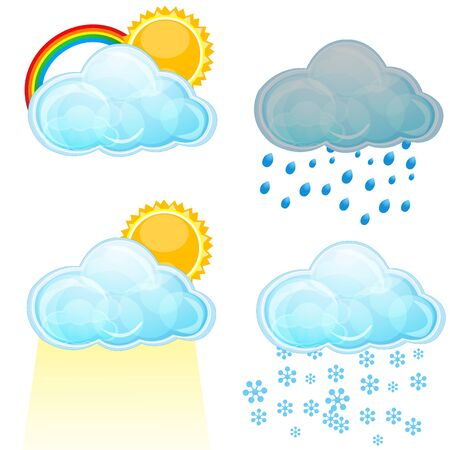 illustration of types of weather  on white background Stock Vector - 8442302