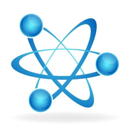 Ilustración del icono del átomo sobre fondo aislado