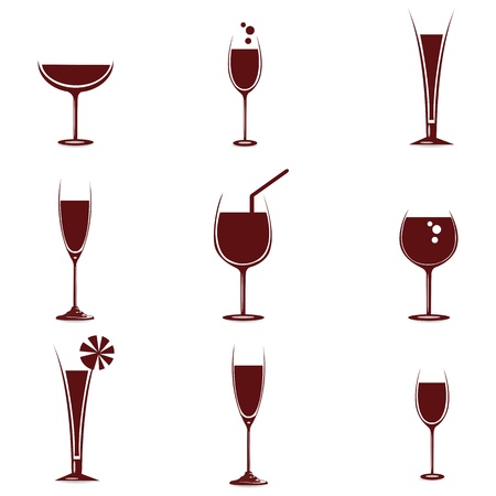 flutes: illustration of wine in different glasses on white background