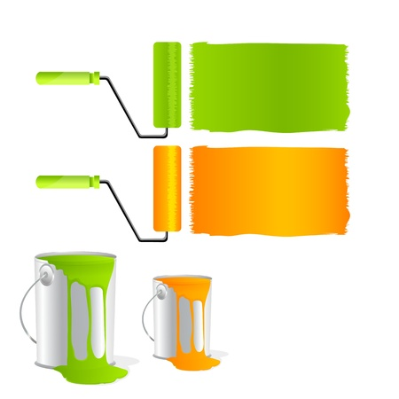 rollers: illustration of paint rollers on white background