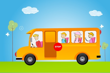 to go: illustration of school bus Illustration