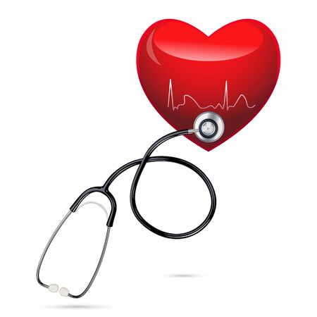 stethoscopes: illustration of stethoscope with heart on isolated background