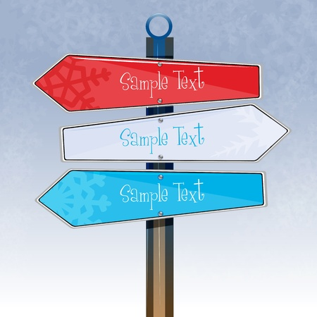 illustration of colorful direction board on white background