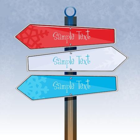 cruce de caminos: Ilustraci�n de la Junta de direcci�n coloridos sobre fondo blanco