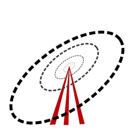zone: illustratie van wifi toren op witte achtergrond