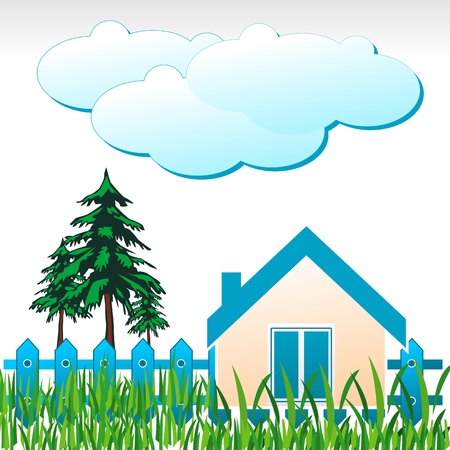 illustration of natural home with tree and cloud Stock Vector - 8441867