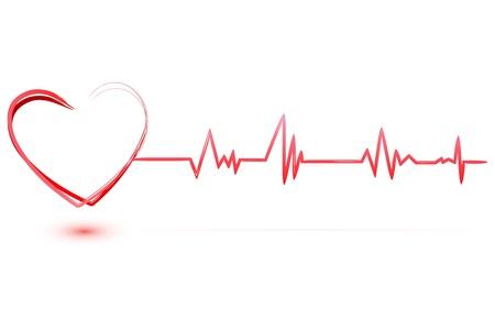 puls: Ilustracja serce z Kardiologia z tłem izolowane