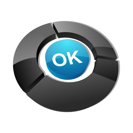 illustration of ok button on white background Vector