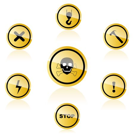 illustration of warning icons on white background Stock Vector - 8441958