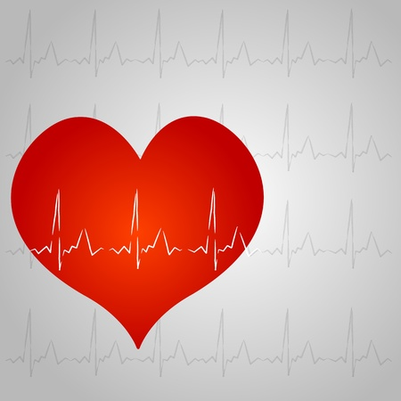 illustration of healthy heart on white background Vector