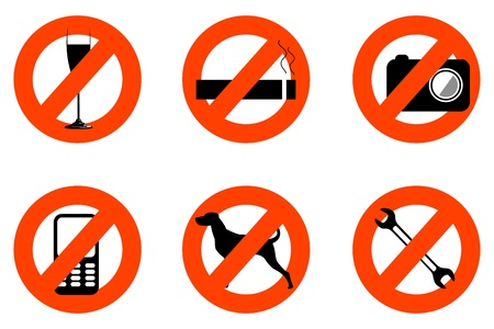 illustration of not allowed icons on white background Stock Vector - 8441682