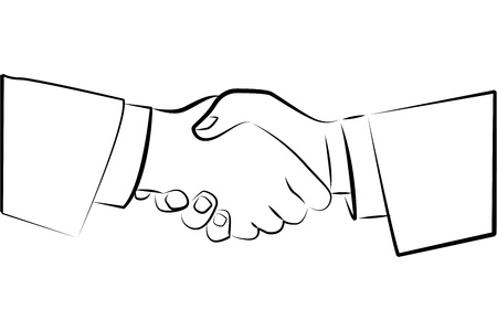 joined hands: illustration of sketchy deal icon on white background