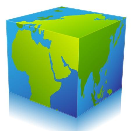 illustration of global cube on white background Stock Vector - 8441726