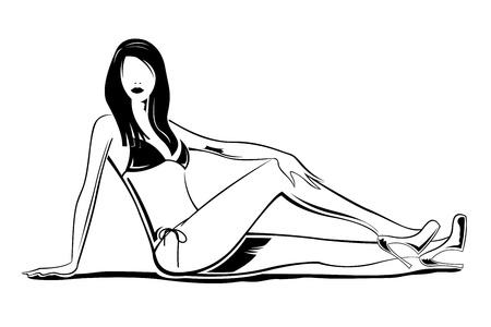illustration of fashion lady on white background Illustration