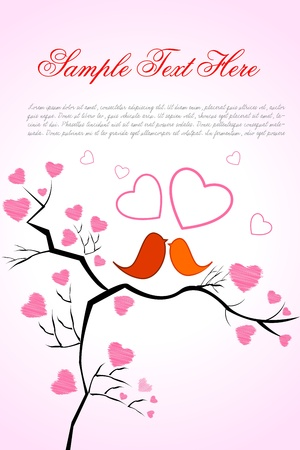 illustration of valentine card with birds and heart on white background Vector