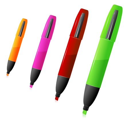 illustration of colorful highlighter on white background Vector