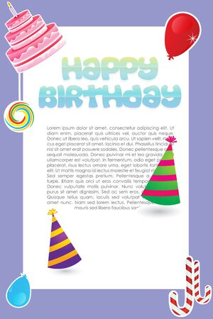 illustration of sweet  birthday card on white background Stock Vector - 8441992