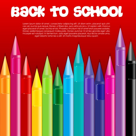 illustration of back to school with crayons Stock Vector - 8442120