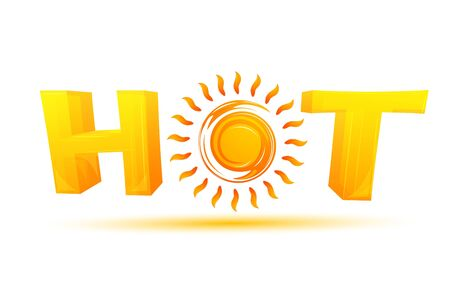illustration of hot text with sun on isolated background Stock Vector - 8441886