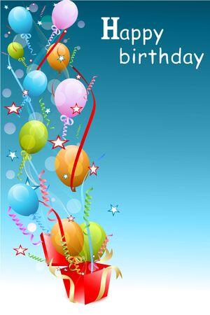 illustratie van kleurrijke verjaardags kaart met bolloons