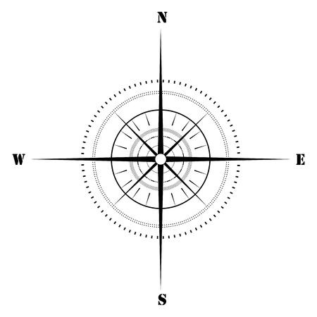 directions: illustratie van schetsmatig kompas op geïsoleerde achtergrond