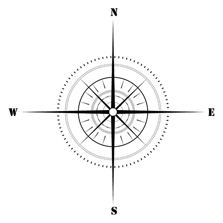 magnetic north: illustration of sketchy compass on isolated background