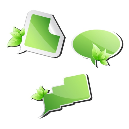 illustration of different dialogue bubbles with leaf on white background Stock Vector - 8442100