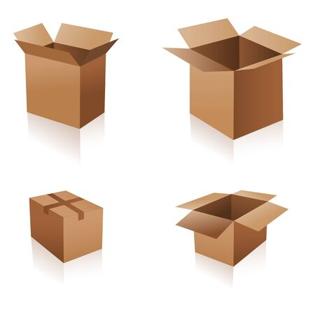 illustration of different boxes on white background Stock Vector - 8441724