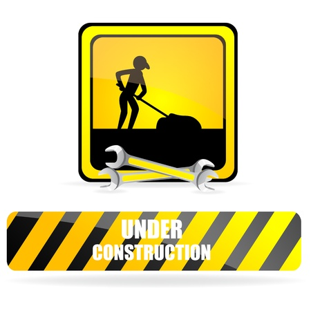 illustration of under construction on isolated background Stock Vector - 8441948
