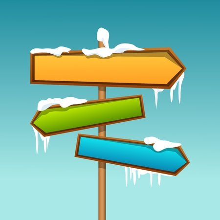 indicate: illustration of snowy direction board Illustration
