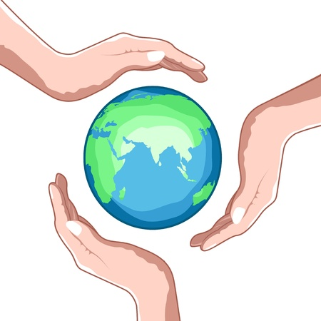 ozone friendly: illustration of save earth with hands on white background